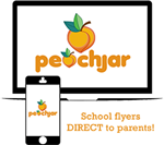 "peachjar ""peach"" logo on a computer screen and start phone"